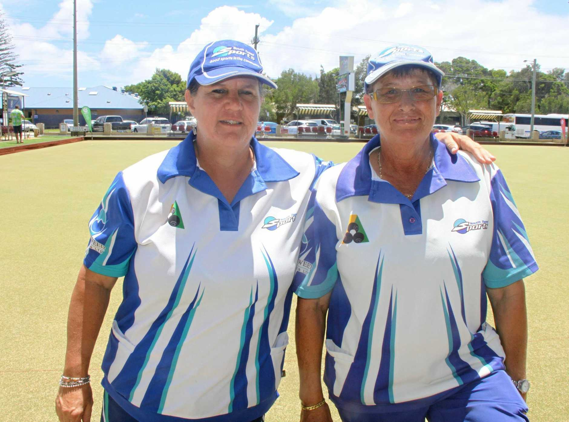 SUMMERLAND SERIES: Sole female team in the pairs event, Anna Lovasi and Cheryl Moran from South Tweed are a highly competitive duo.