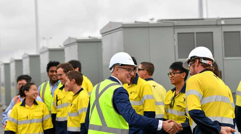 POWER: SA Premier Jay Weatherill tours the site during the launch of Tesla's 100 megawatt lithium-ion battery on December 1.