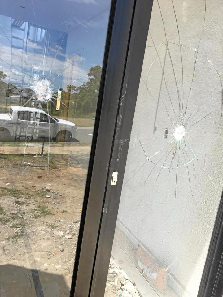 Two bricks and a harsh welcoming note were thrown through a window of a Peregian Springs home.
