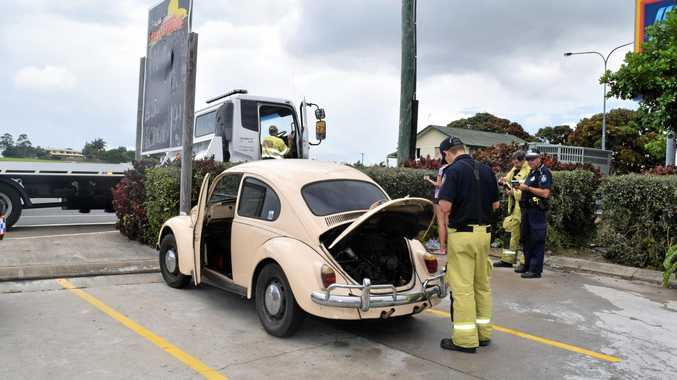 Emergency services were called to a reported car fire outside Aldi in Hervey Bay.