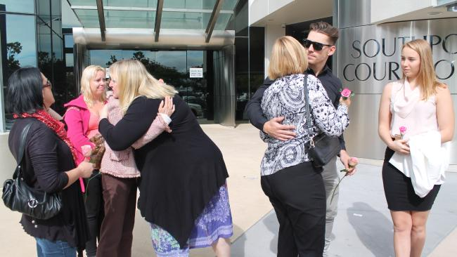 Family of Breeana Robinson react to Shearin's verdict outside court in 2015.