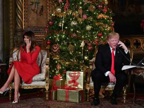 First Lady of the US Melania Trump has been slammed for the Christmas selfie she posted to Instagram. Picture: AFP/Nicholas Kamm