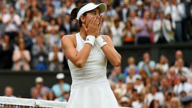 Garbine Muguruza after winning the Wimbledon title.