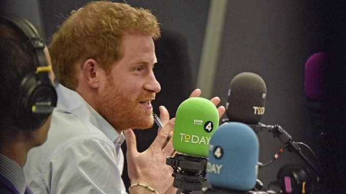 Britain's Prince Harry talks, in the studio for the Radio 4