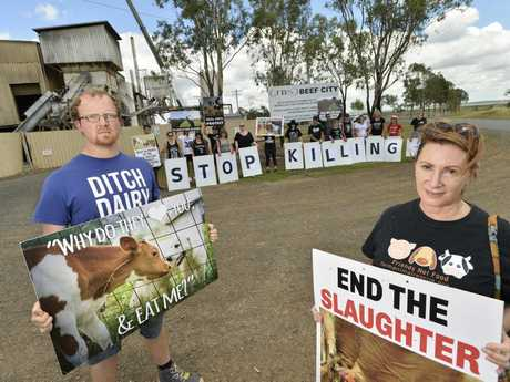 Brian Hallmond and Angela Brito with other animal rights activists protest at JBS Beef City.
