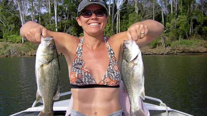 KEEN ANGLER: Alison and David McDonald had and great time in the Mary River catching bass.