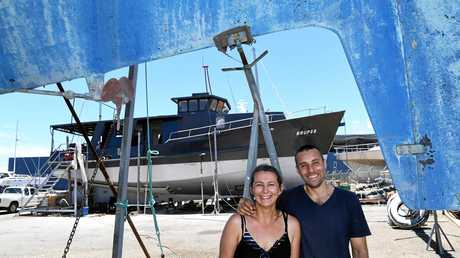 POLAR EXPRESS: Jess and Damien Ashdown with their boat Brupeg, which was salvaged from