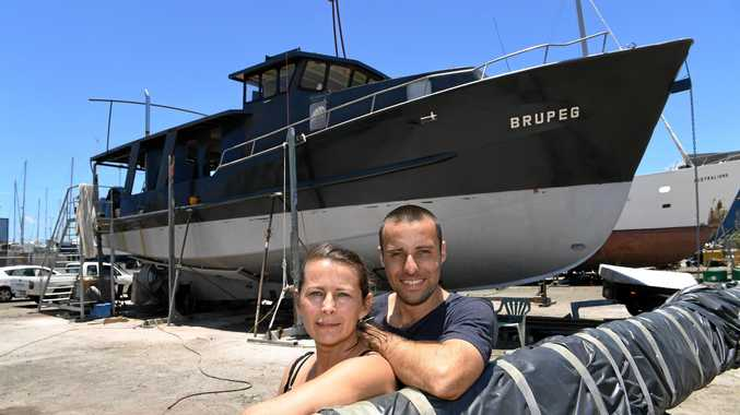 Jess and Damien Ashdown with their boat Brupeg.