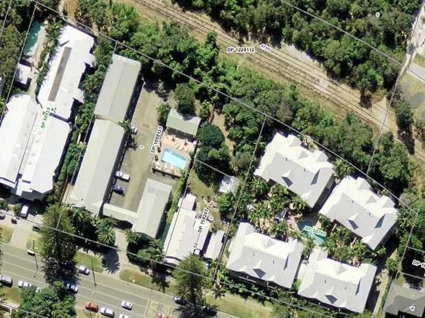 An aerial view of the Wollongbar Motel at 19-21 Shirley St, Byron Bay, which backs on to the rail corridor.