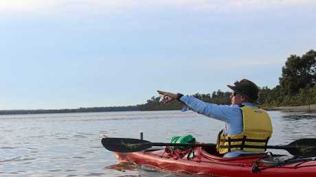 TOP GUIDE: Philip Moore, owner/operator of Yamba Kayak, points out some wildlife to be seen on the Clarence River.