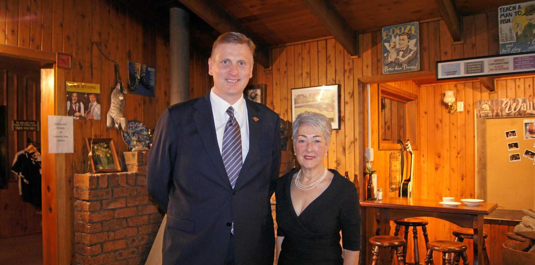 Southern Downs MP James Lister with SDRC mayor Tracy Dobie.