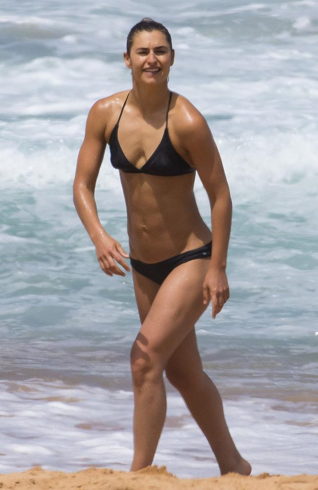 Personal trainer Frances Abbott walking out of the surf at Palm Beach in Sydney this week. Picture: Matrix Media Group