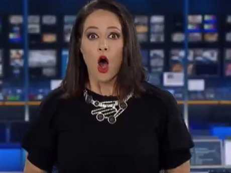 TV news presenter Natasha Exelby was caught by surprise
