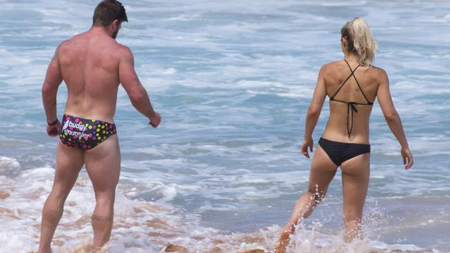 Frances Abbott and fiance Sam Loch have spent the Christmas break working out and swimming at Palm Beach, Sydney. Picture: Matrix Media Group