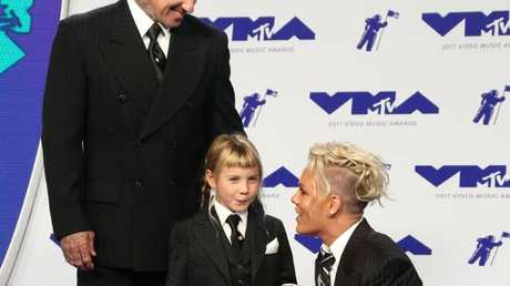 Singer Pink, husband Carey Hart and daughter Willow Sage Heart arrive at the MTV Video Music Awards. Picture: AFP