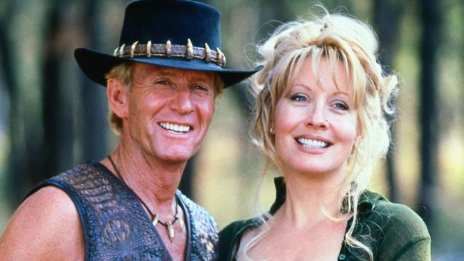 Paul Hogan (l) with Linda Kozlowski in happier times. Picture: Supplied
