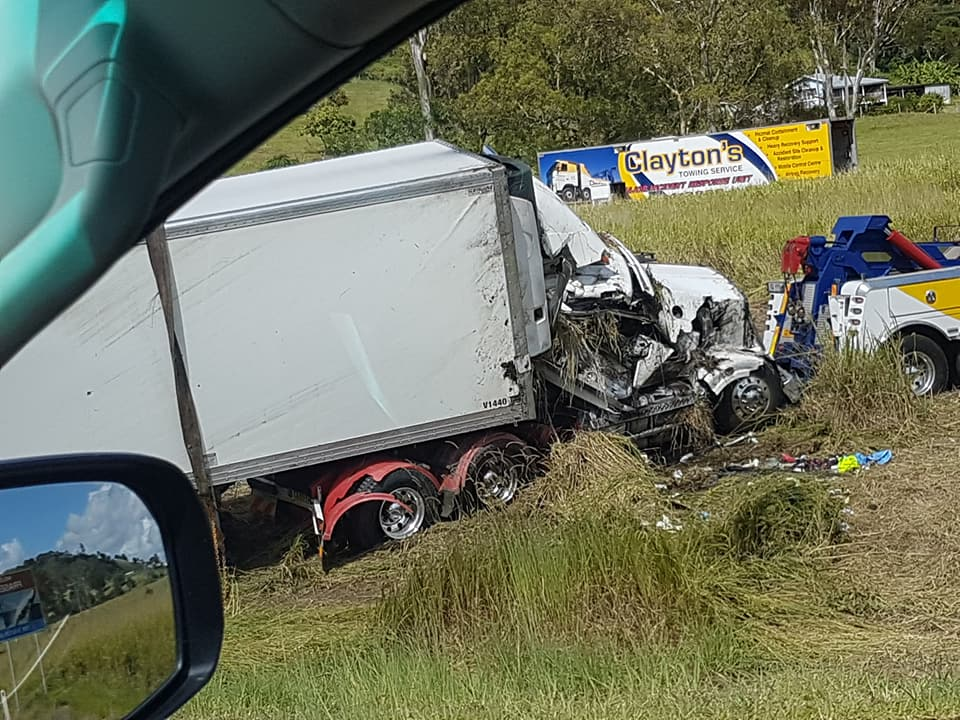 A truckie was trapped for hours after a rollover at Glenwood. Image via Kim McDonald