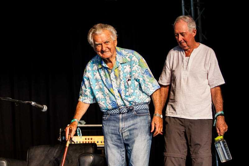 Former Australian prime minister Bob Hawke and Professor Ian Lowe are seen on the Garland stage at the Woodford Folk Festival. Queensland Sunshine Coast. The Woodford Folk Festival is held annually over six days and six nights from Dec 27th through to January 1st north of Brisbane.