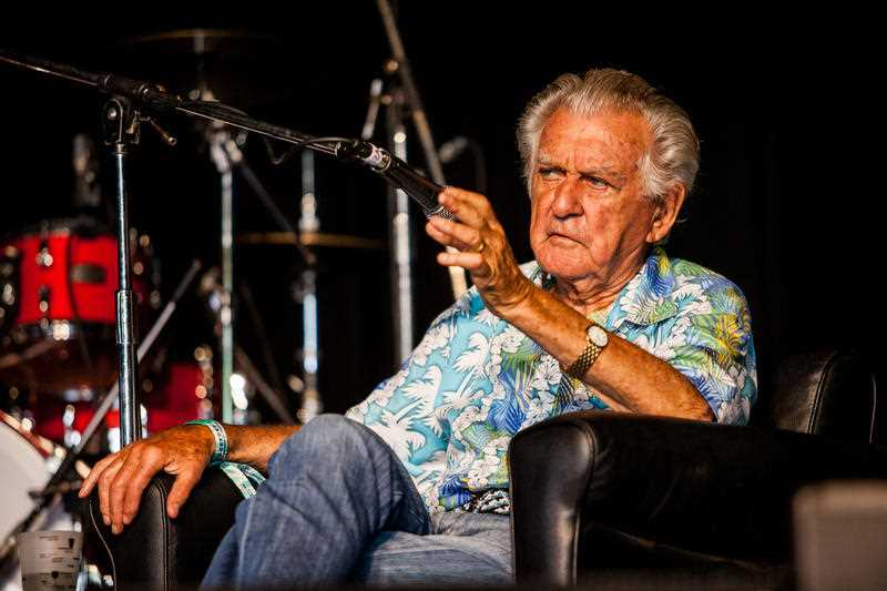 Former Australian prime minister Bob Hawke is seen on the Garland stage at the Woodford Folk Festival. Queensland Sunshine Coast. The Woodford Folk Festival is held annually over six days and six nights from Dec 27th through to January 1st north of Brisbane.