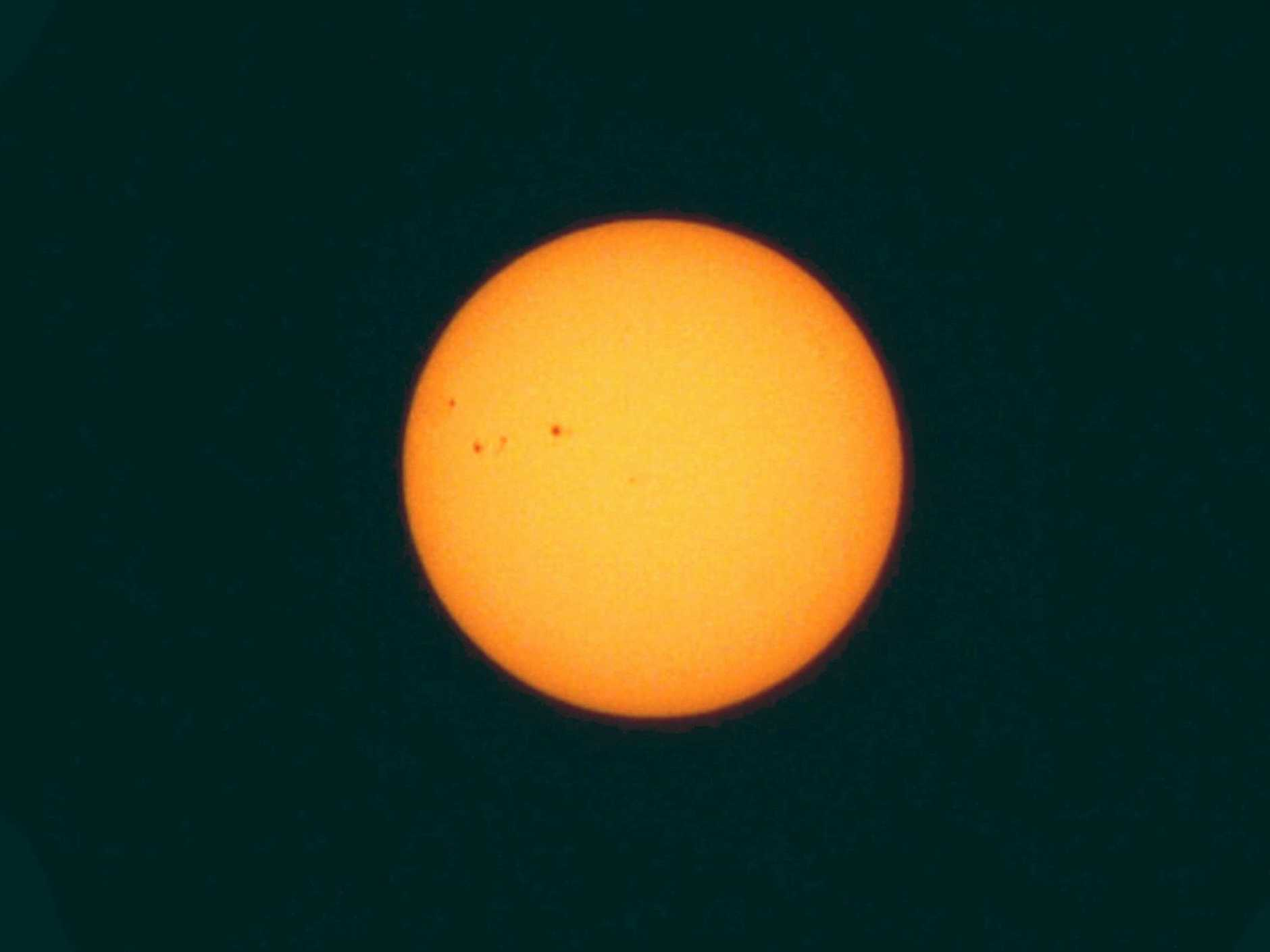 Image of the Sun showing sunspots.