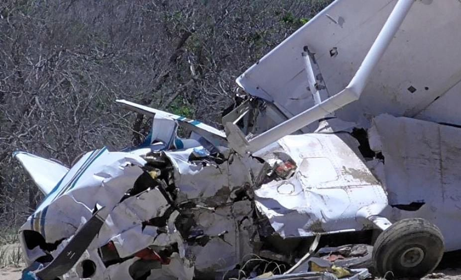 DISASTER: The wreck of the light plane that crashed on Middle Island.