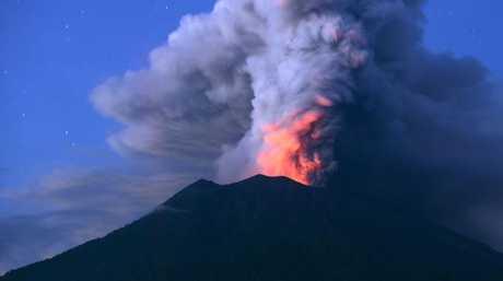 Mount Agung erupting in Bali on November 28, 2017. Picture: Sonny Tumbelaka
