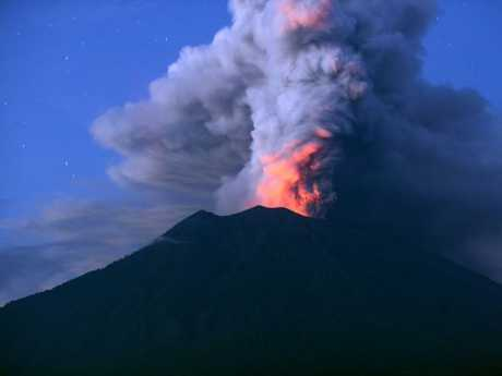 Mount Agung erupting in Bali on November 28, 2017. Picture: Sonny Tumbelaka