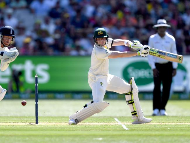 Steve Smith plays a cut for four during the Boxing Day Test.