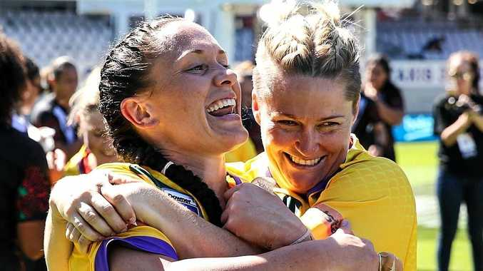 Brothers Ipswich player Brittany Breayley (left) was a big part of the Jillaroos' World Cup success.