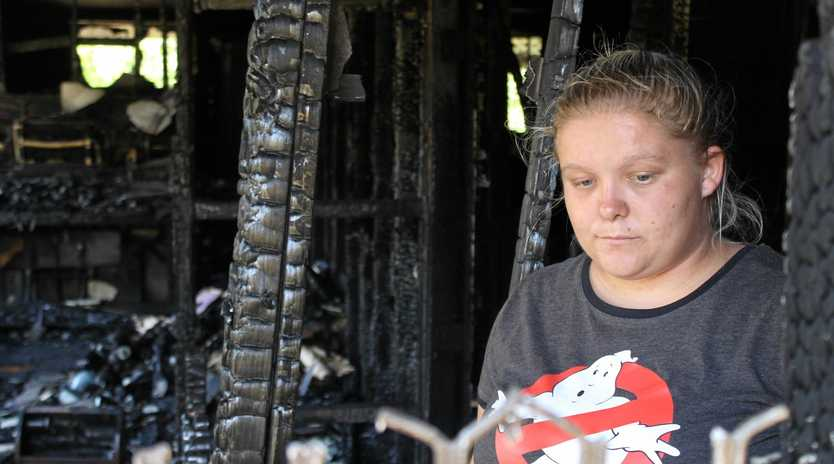 Kira Battams' home at Glenella was gutted by fire, leaving her family with next to nothing.