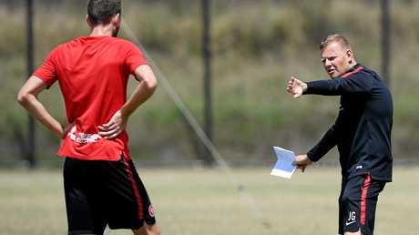 Western Sydney Wanderers head coach Josep Gombau makes his point at training.
