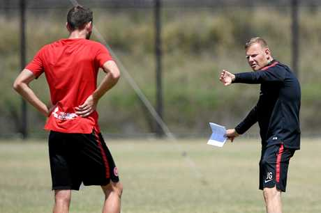 Western Sydney Wanderers head coach Josep Gombau makes his point at training.