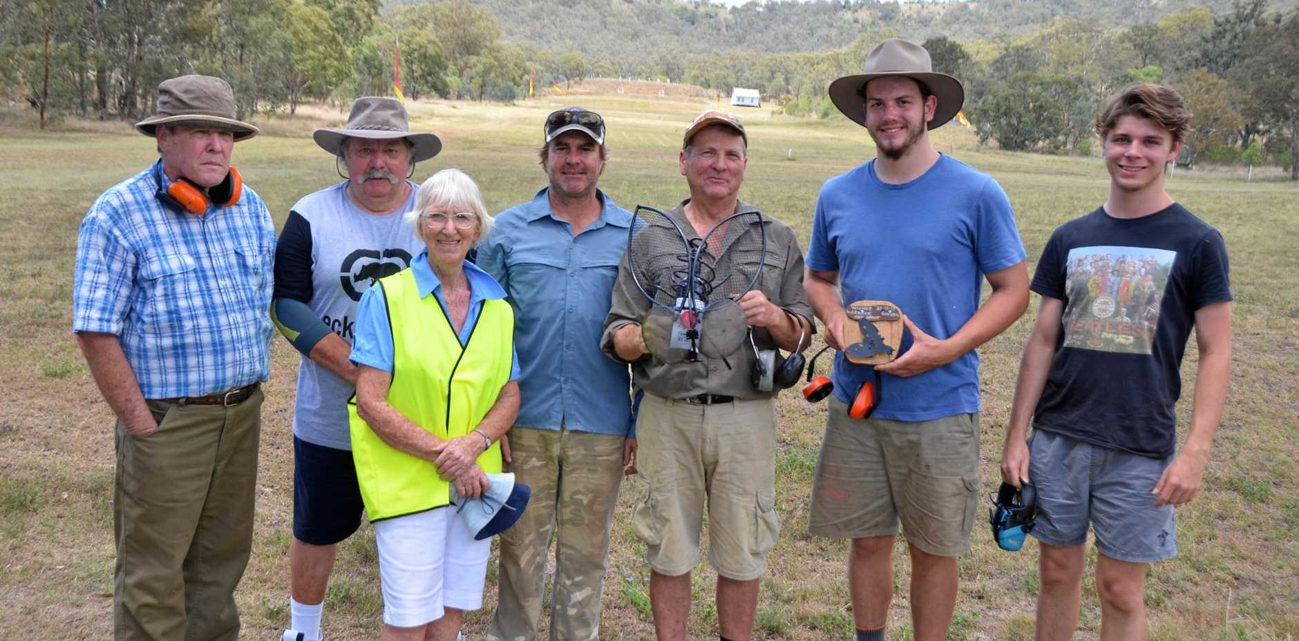 SHOOT ON: Bruce McAllan, Bob Tyllyer, Margaret Taylor, Brad Hart, Murray Reck, Ned Roche and Conor Roche at the Southern Downs Rifle Club Fly Shoot on New Year's Eve.