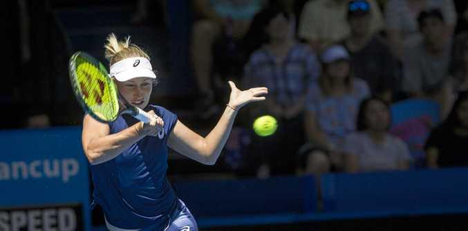 CUP CLASH: Australia's Daria Gavrilova hits a forehand return during her Hopman Cup match against Canada's Eugenie Bouchard.