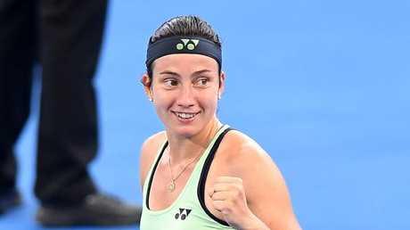 Sevastova celebrates her victory.