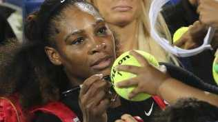 Serena Williams signed autographs after the match. Picture: AP