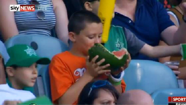 He carried a watermelon at the MCG and now he's going pro. Picture: Nine