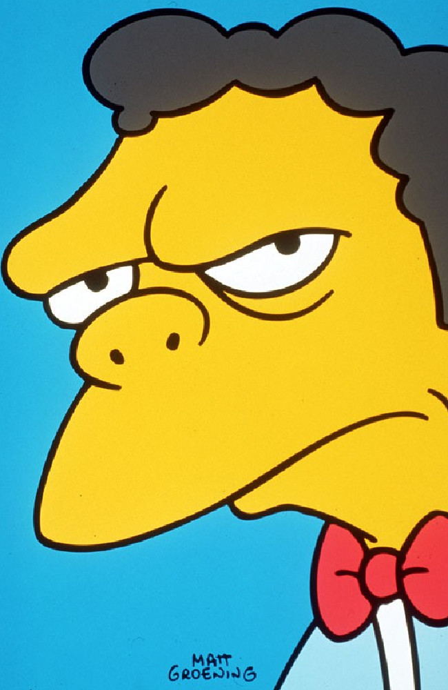 Moe Szyslak from The Simpsons ironically could never grow a mo.