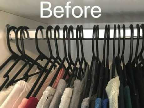 The wardrobe hack  involves turning all your  clothes hangers the same way at the start of the year.
