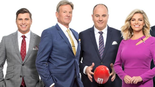 The cast of the AFL Footy Show with (from left: Shane Crawford, Sam Newman, Craig Hutchison and Rebecca Maddern.