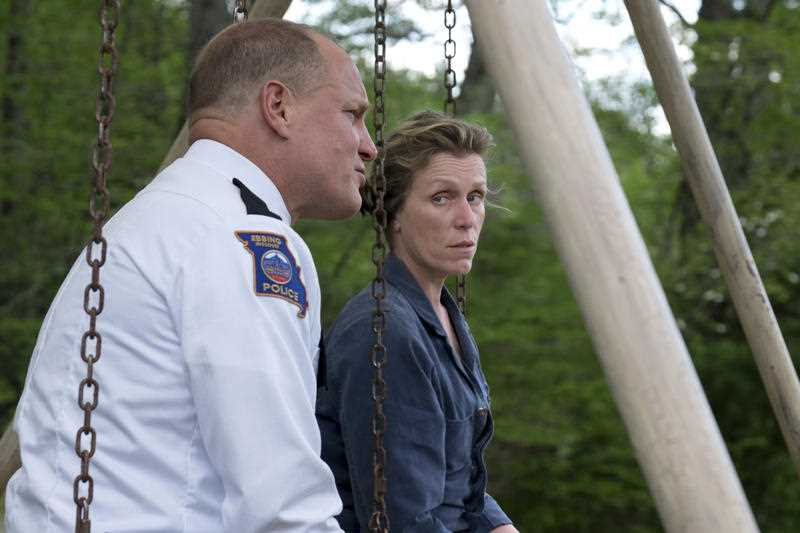 Woody Harrelson, left, and Frances McDormand in a scene from