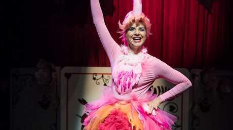 Monica Trapaga as the flamboyant flamingo in The Funatorium: Mad Hatter's Tea Party.