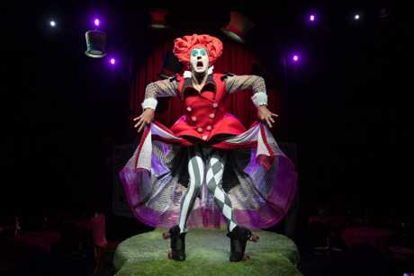 Stuart Christie as the Red Kween in a scene from The Funatorium: Mad Hatter's Tea Party.