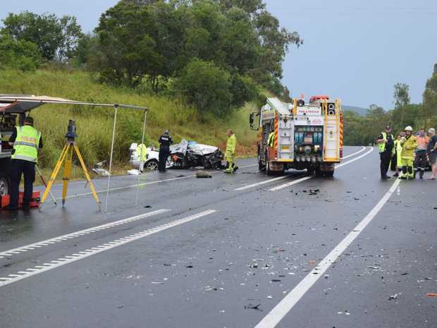 A man has been killed and a family of five injured in a crash on the Bruce Highway at Chatsworth.