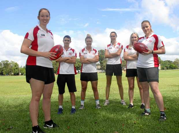 SWANS SOARING: Lismore Swans players are looking forward to another sensational season in 2018. L-R Emma Wilson, Laura Harradine, Zoe Goodsell, Tamara Hamshaw and Ally Rice-Finlayson are pumped after winning the 2017 AFL women's premiership.