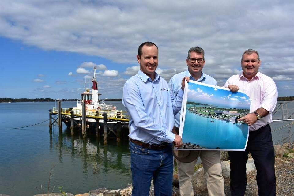 Pacific Tug commercial manager Darryl Savage with MP Keith Pitt and Mayor Jack Dempsey.