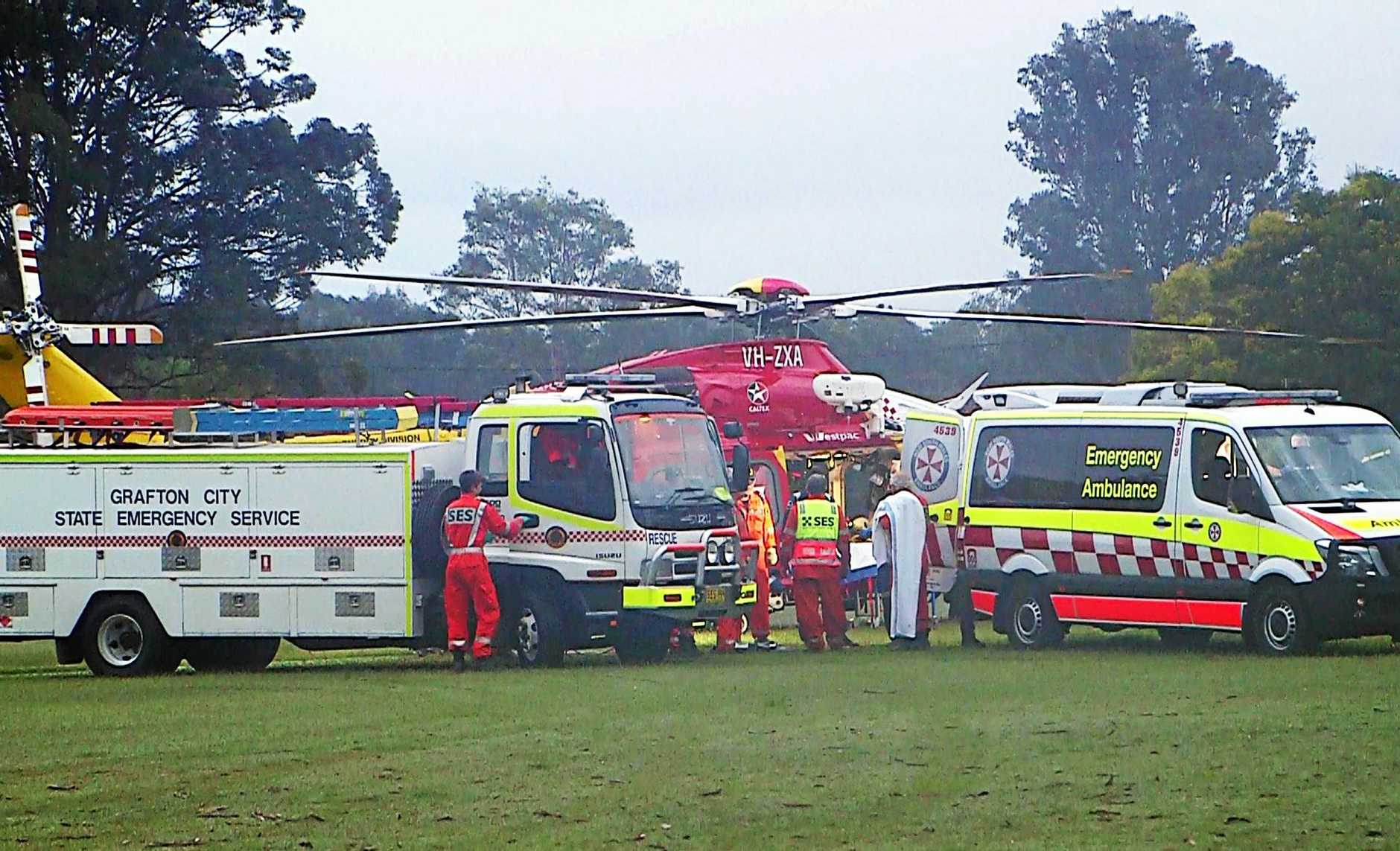Emergency services responded to an incident at Clouds Creek, 60km west of Grafton on Armidale Road.