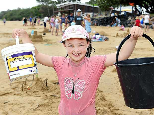 Sand sculpting competition at Scarness Beach - organizer 9 yr old Monique Bailey.