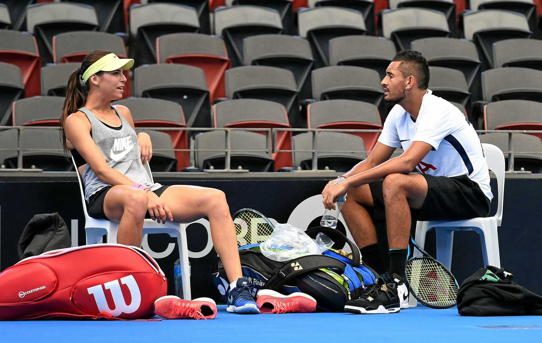 Ajla Tomljanovic with boyfriend Nick Kyrgios at practice at the Brisbane International tournament.