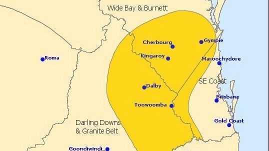 South Burnett storm warning.